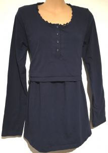 JOJO MAMAN BEBE NAVY LONG SLEEVE PYJAMA TOP SIZE M 12-14